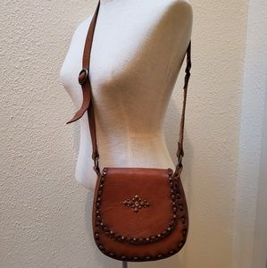 Vintage Leather Studded Crossbody Saddlebag Purse